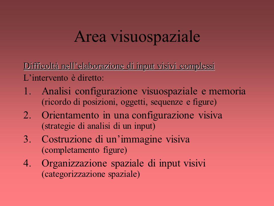 Area visuospaziale Difficoltà nell'elaborazione di input visivi complessi. L'intervento è diretto: