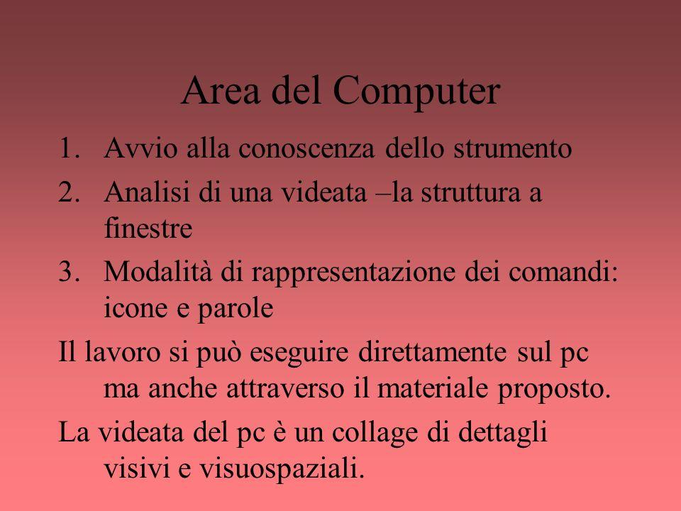 Area del Computer Avvio alla conoscenza dello strumento