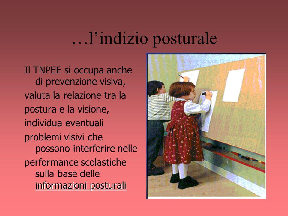 …l'indizio posturale Il TNPEE si occupa anche di prevenzione visiva,