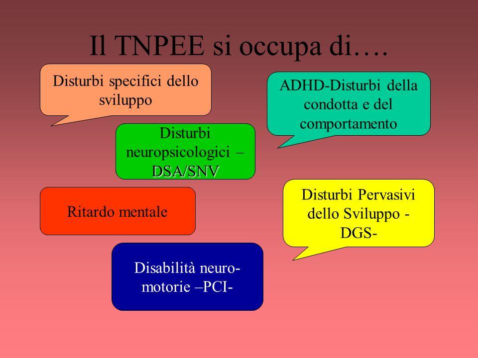 Il TNPEE si occupa di…. Disturbi specifici dello sviluppo