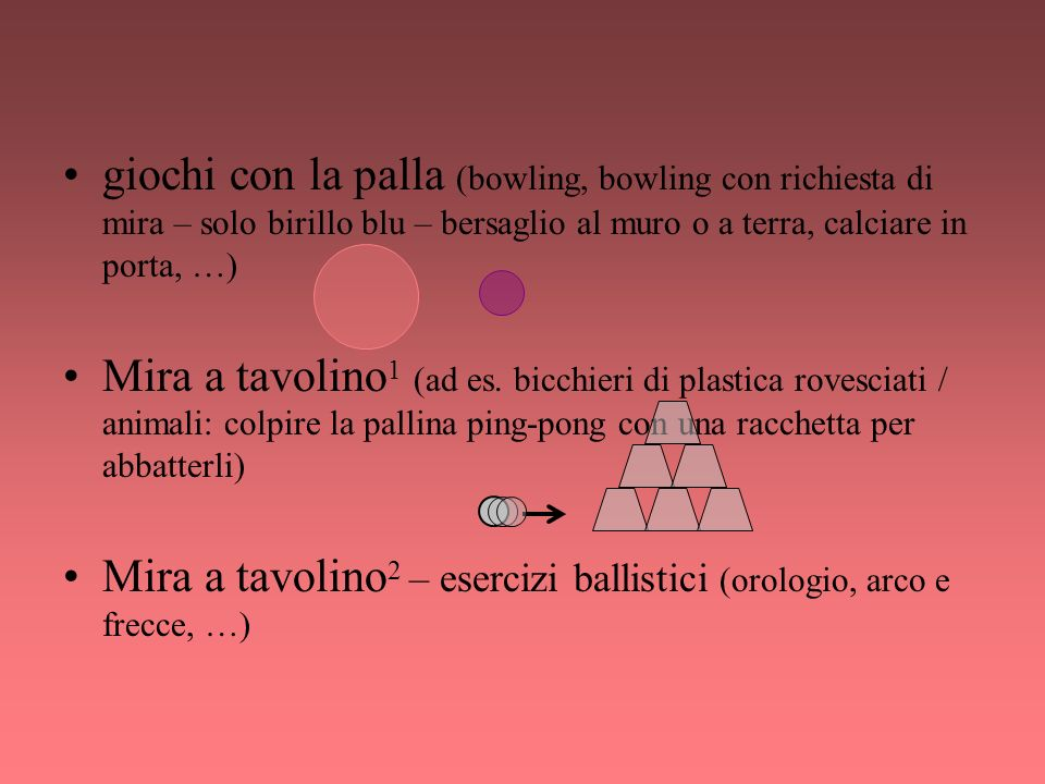 giochi con la palla (bowling, bowling con richiesta di mira – solo birillo blu – bersaglio al muro o a terra, calciare in porta, …)
