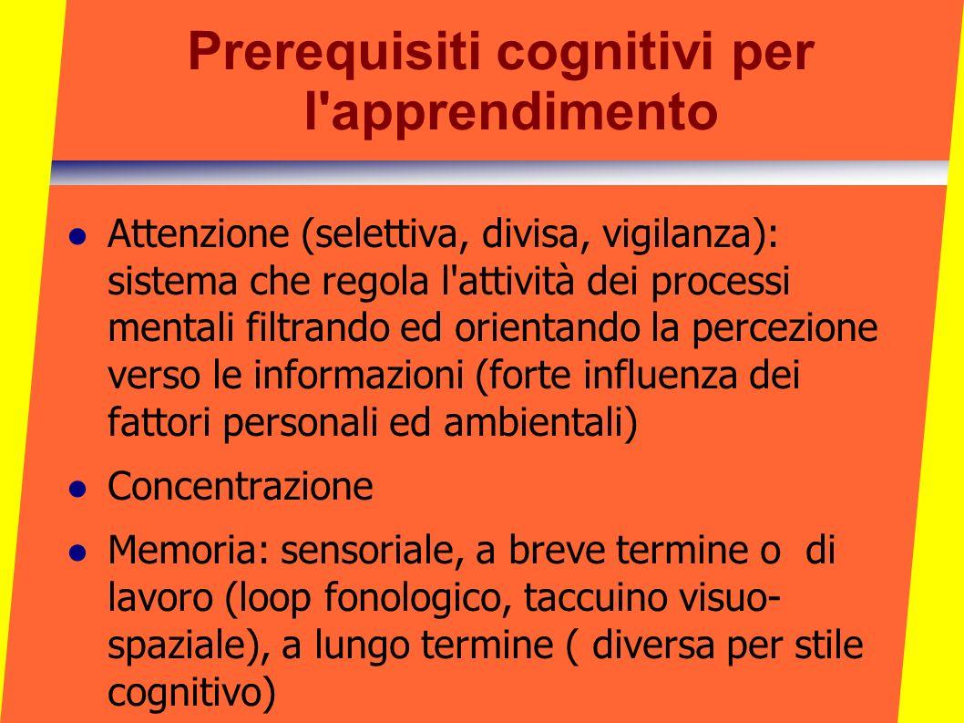 Prerequisiti cognitivi per l apprendimento