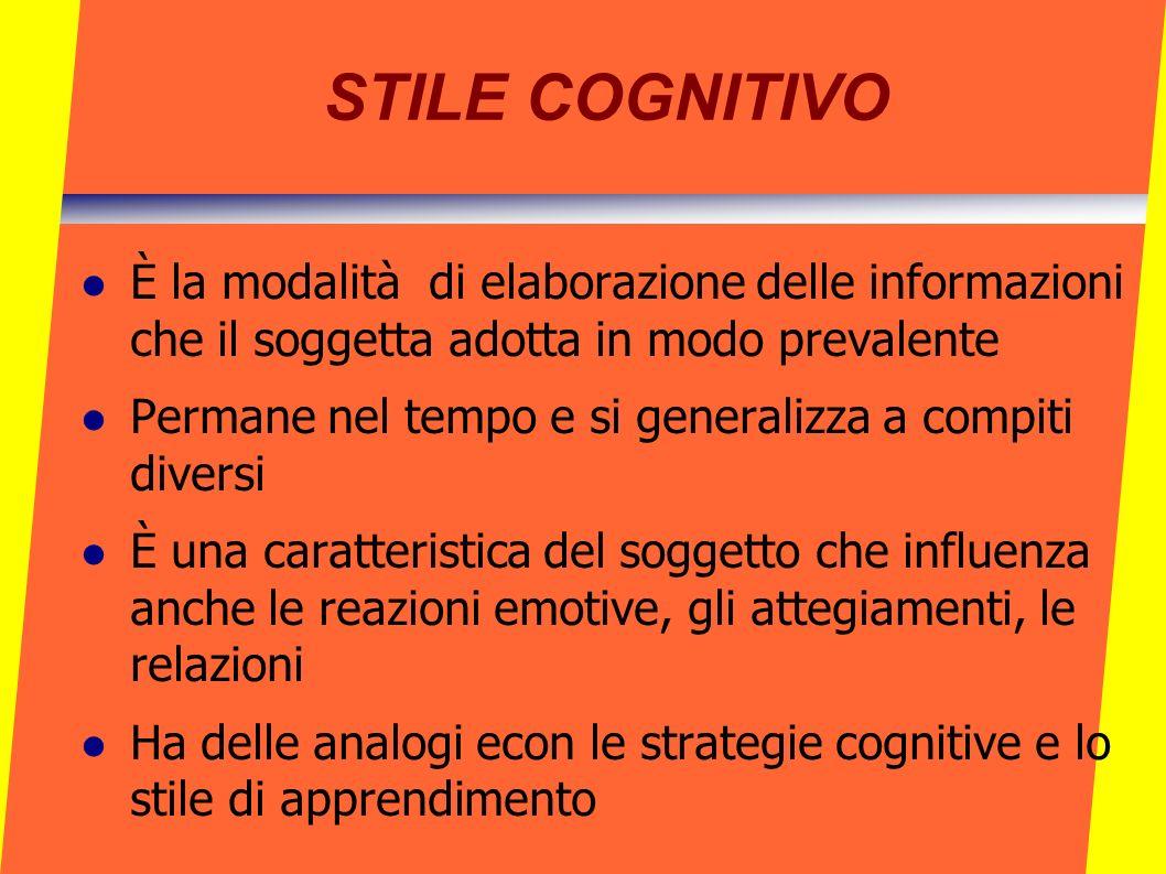 STILE COGNITIVO È la modalità di elaborazione delle informazioni che il soggetta adotta in modo prevalente.