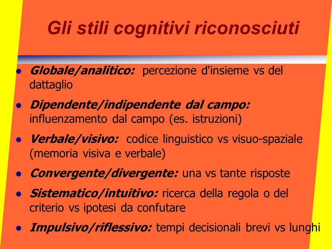 Gli stili cognitivi riconosciuti