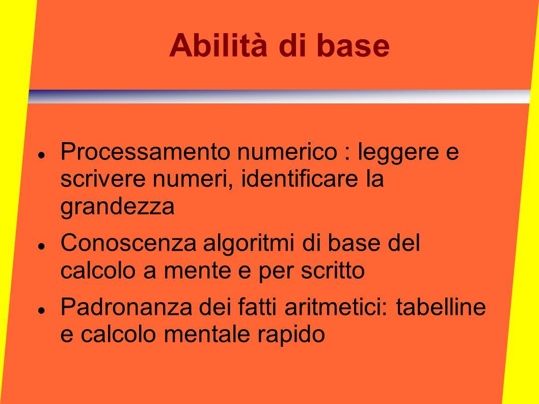Abilità di base Processamento numerico : leggere e scrivere numeri, identificare la grandezza.