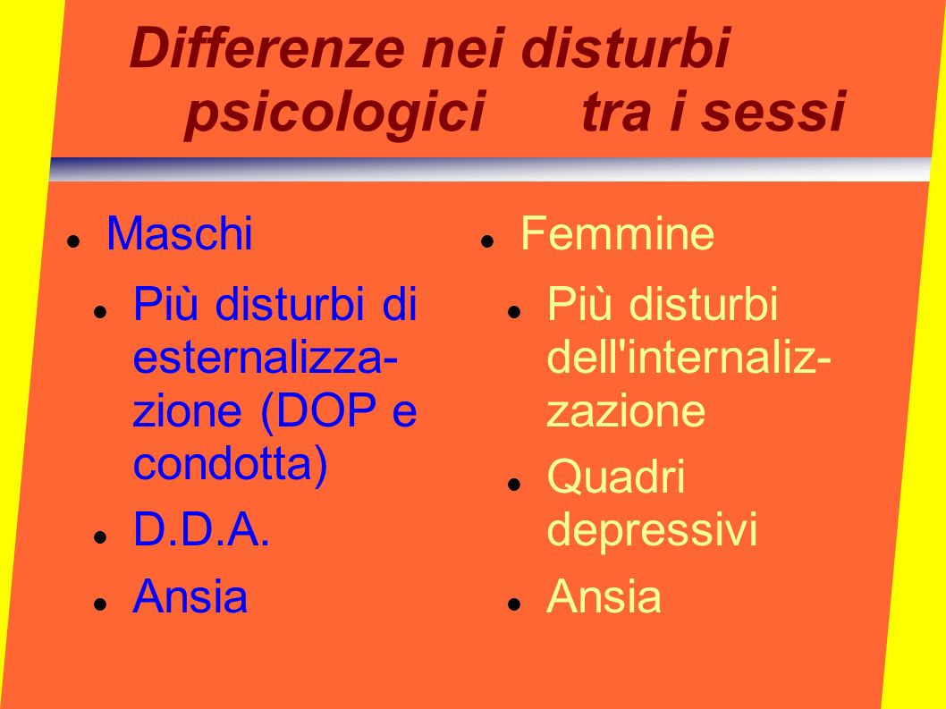 Differenze nei disturbi psicologici tra i sessi