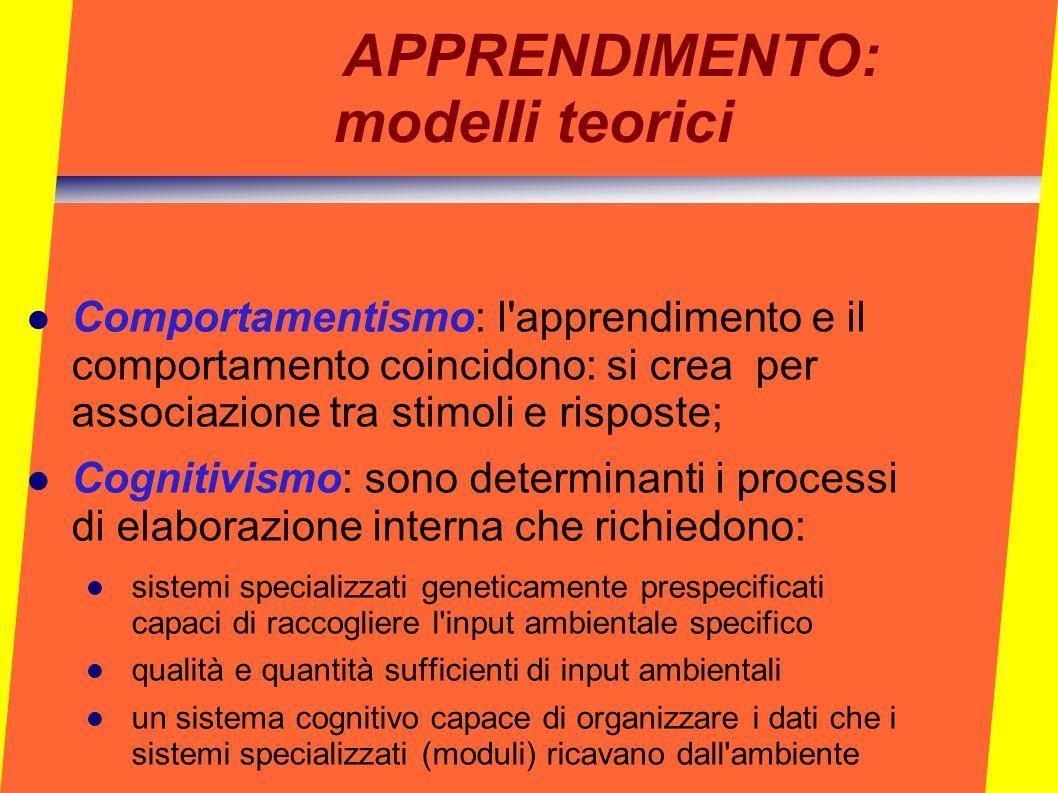 APPRENDIMENTO: modelli teorici