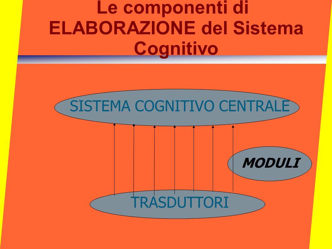 Le componenti di ELABORAZIONE del Sistema Cognitivo