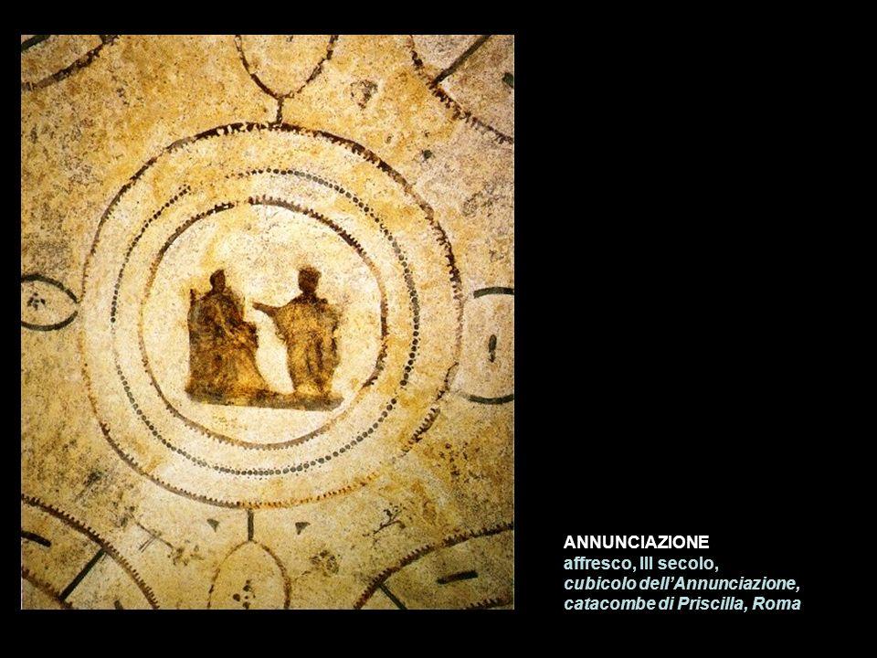 ANNUNCIAZIONE affresco, III secolo, cubicolo dell'Annunciazione, catacombe di Priscilla, Roma