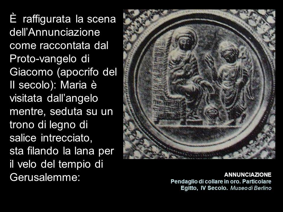 È raffigurata la scena dell'Annunciazione come raccontata dal Proto-vangelo di Giacomo (apocrifo del II secolo): Maria è visitata dall'angelo mentre, seduta su un trono di legno di salice intrecciato, sta filando la lana per il velo del tempio di Gerusalemme: