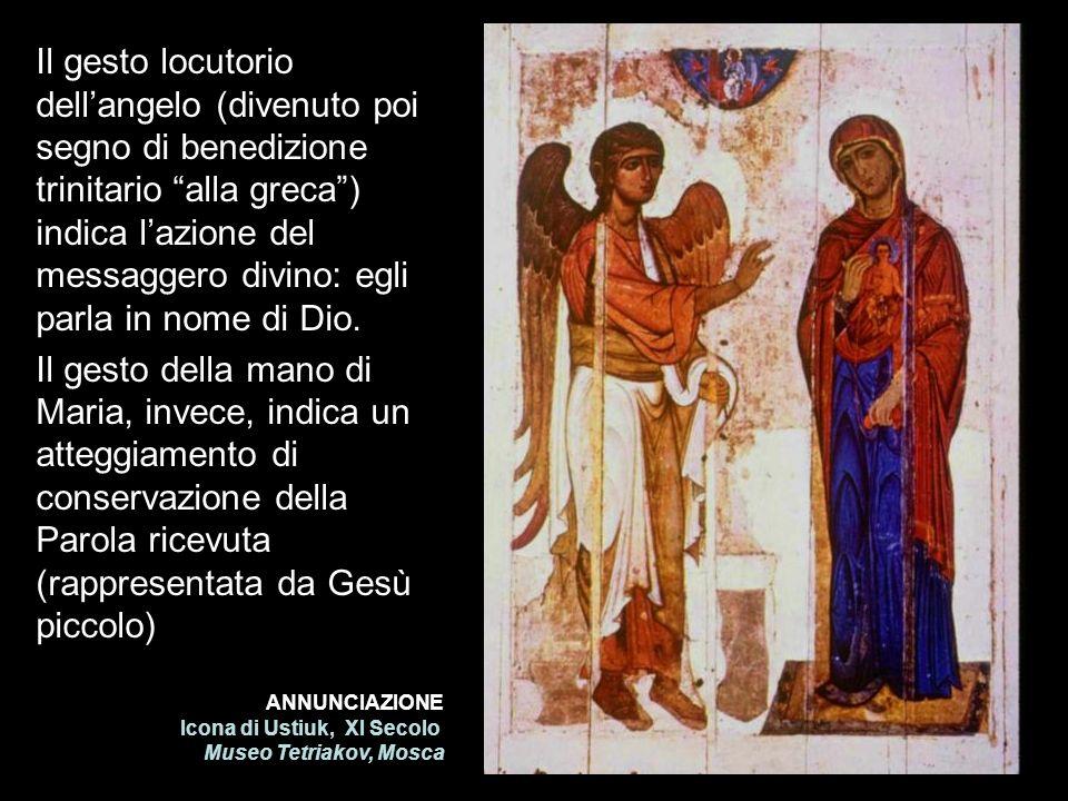 Il gesto locutorio dell'angelo (divenuto poi segno di benedizione trinitario alla greca ) indica l'azione del messaggero divino: egli parla in nome di Dio.