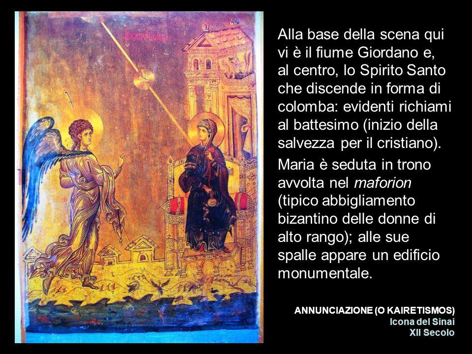 Alla base della scena qui vi è il fiume Giordano e, al centro, lo Spirito Santo che discende in forma di colomba: evidenti richiami al battesimo (inizio della salvezza per il cristiano).