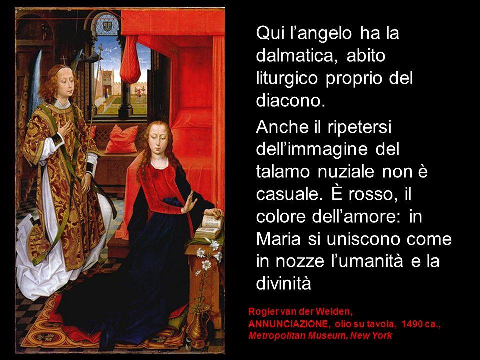 Qui l'angelo ha la dalmatica, abito liturgico proprio del diacono.