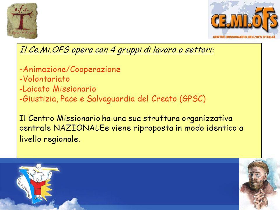 Il Ce.Mi.OFS opera con 4 gruppi di lavoro o settori: