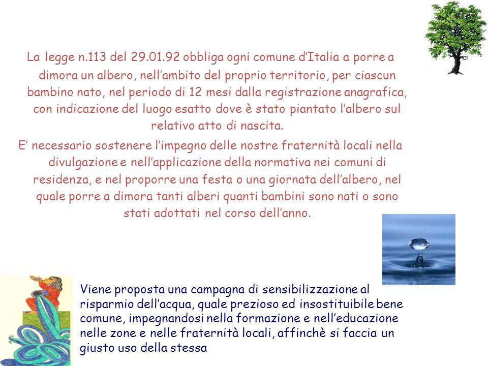 La legge n.113 del 29.01.92 obbliga ogni comune d'Italia a porre a dimora un albero, nell'ambito del proprio territorio, per ciascun bambino nato, nel periodo di 12 mesi dalla registrazione anagrafica, con indicazione del luogo esatto dove è stato piantato l'albero sul relativo atto di nascita.
