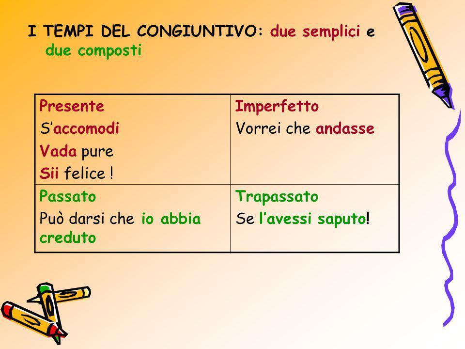 I TEMPI DEL CONGIUNTIVO: due semplici e due composti