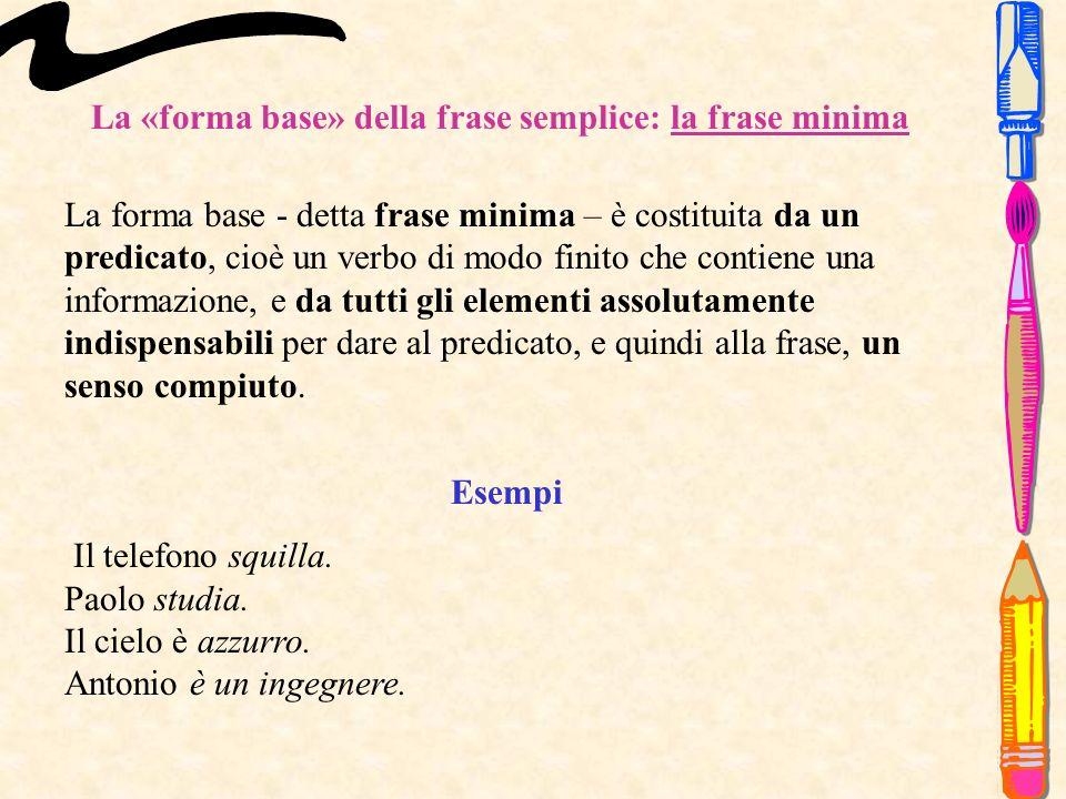 La «forma base» della frase semplice: la frase minima