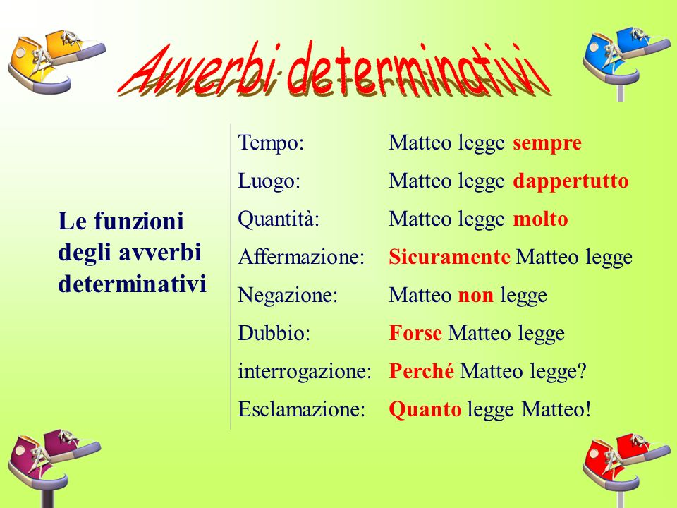 Avverbi determinativi