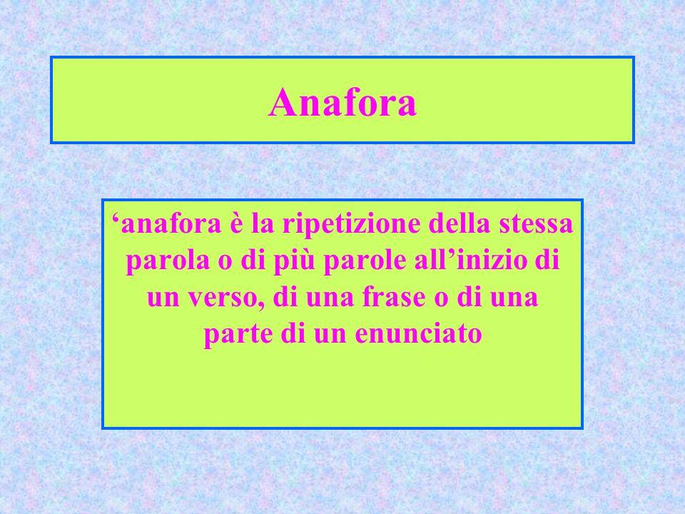 Anafora 'anafora è la ripetizione della stessa parola o di più parole all'inizio di un verso, di una frase o di una parte di un enunciato.