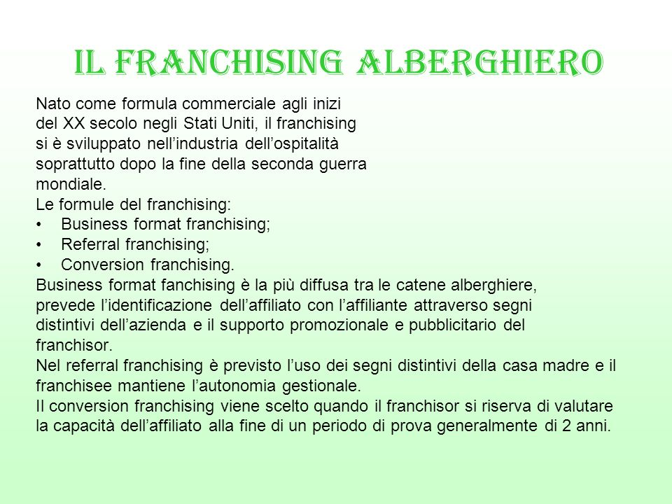 IL FRANCHISING ALBERGHIERO