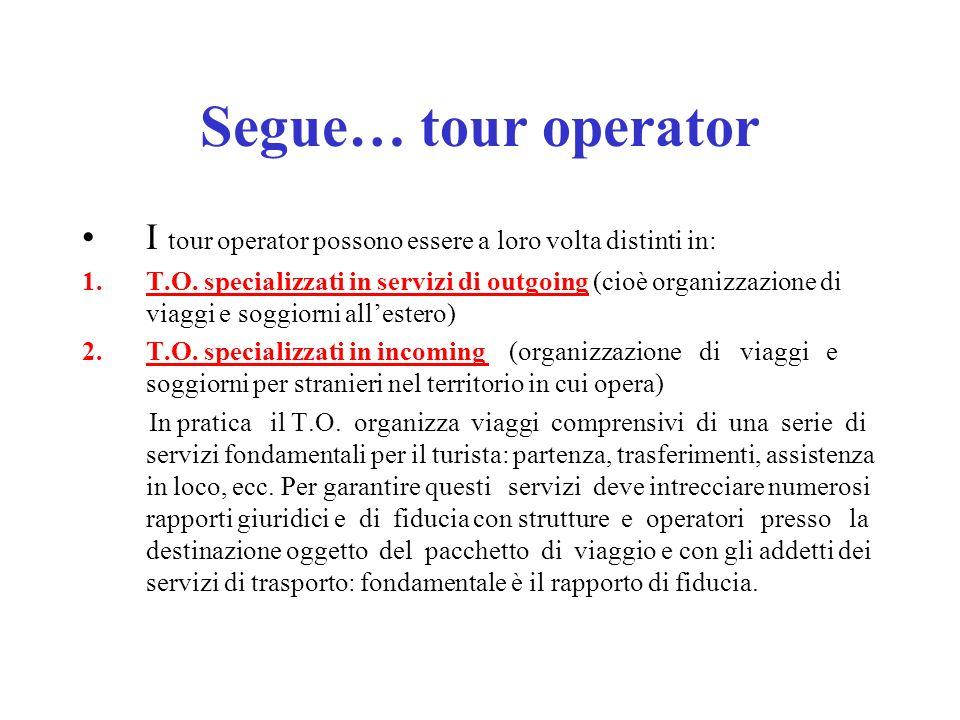 Segue… tour operator I tour operator possono essere a loro volta distinti in: