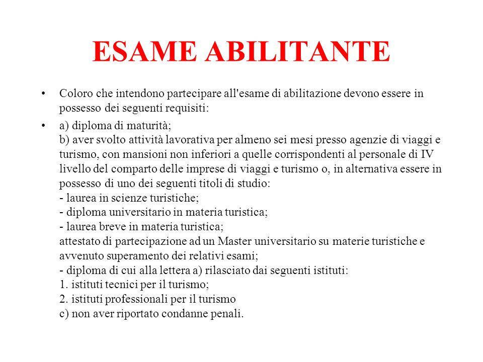 ESAME ABILITANTEColoro che intendono partecipare all esame di abilitazione devono essere in possesso dei seguenti requisiti: