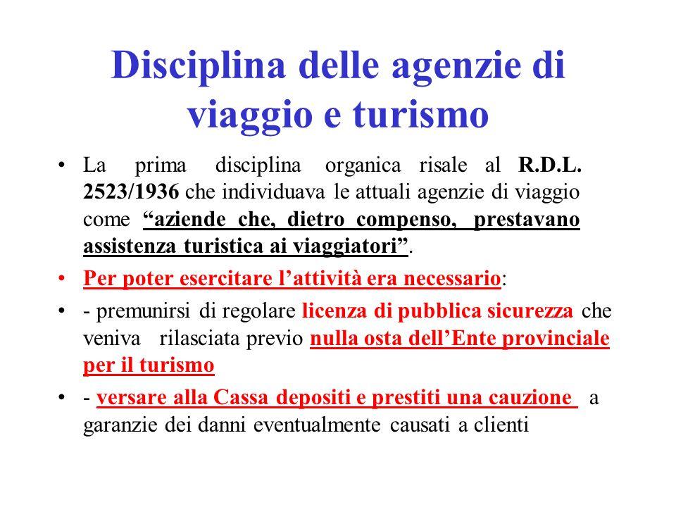 Disciplina delle agenzie di viaggio e turismo
