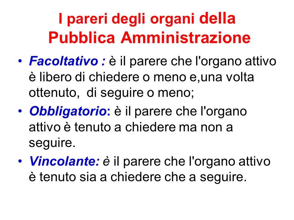 I pareri degli organi della Pubblica Amministrazione