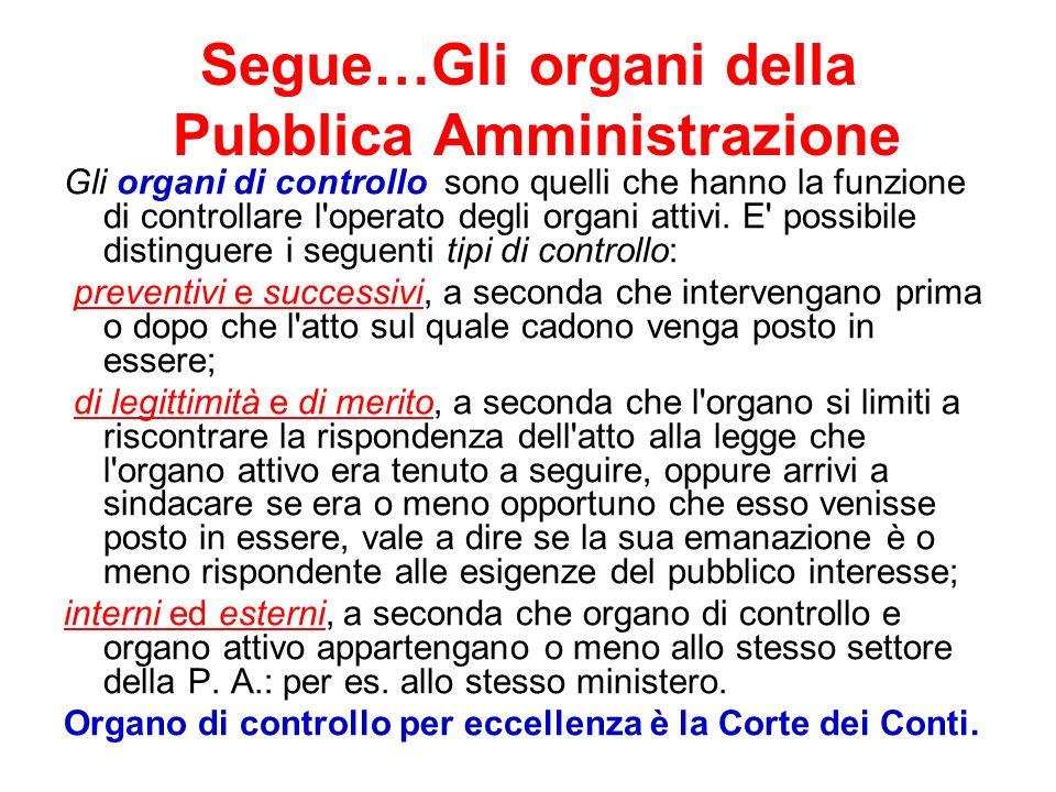 Segue…Gli organi della Pubblica Amministrazione
