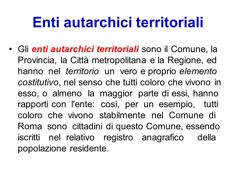 Enti autarchici territoriali
