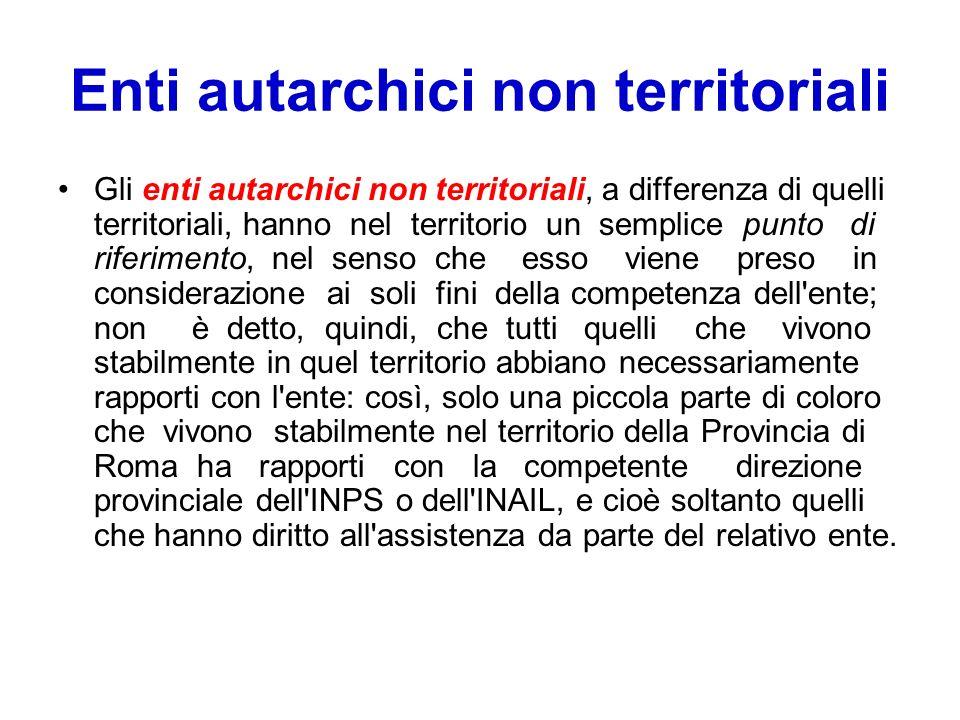 Enti autarchici non territoriali