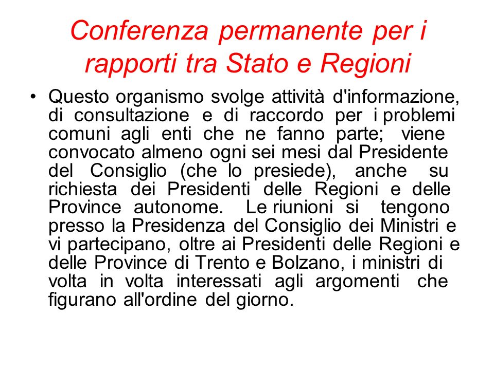 Conferenza permanente per i rapporti tra Stato e Regioni