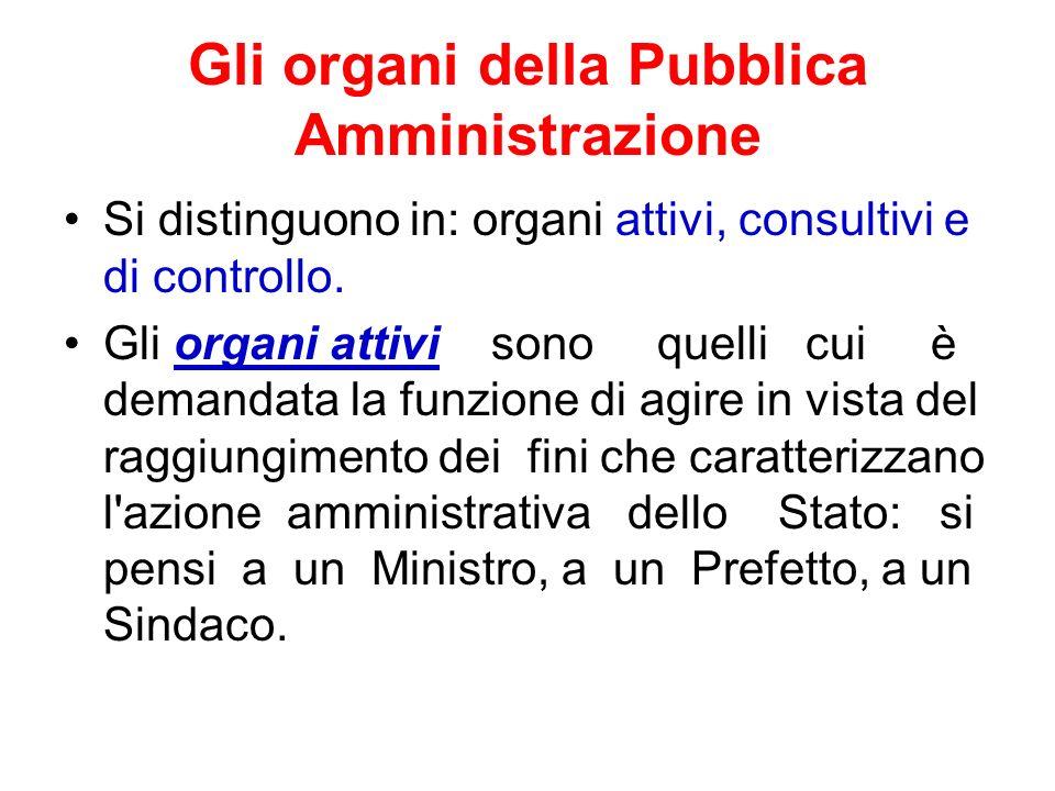 Gli organi della Pubblica Amministrazione