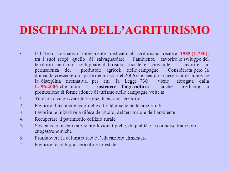 DISCIPLINA DELL'AGRITURISMO