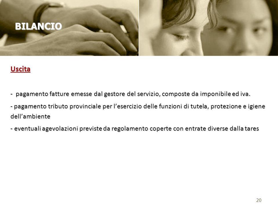 BILANCIO Uscita. - pagamento fatture emesse dal gestore del servizio, composte da imponibile ed iva.