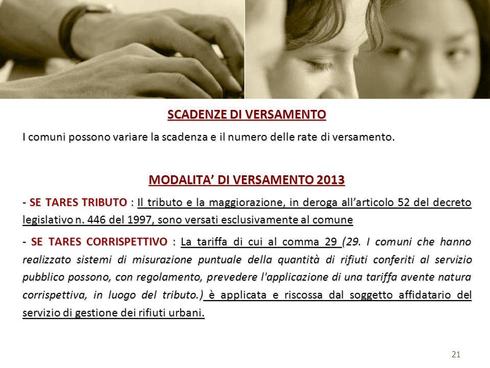 SCADENZE DI VERSAMENTO MODALITA' DI VERSAMENTO 2013