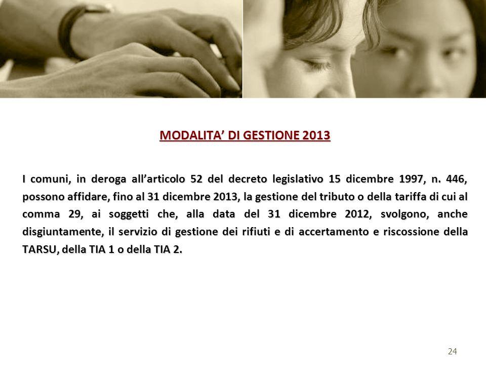MODALITA' DI GESTIONE 2013