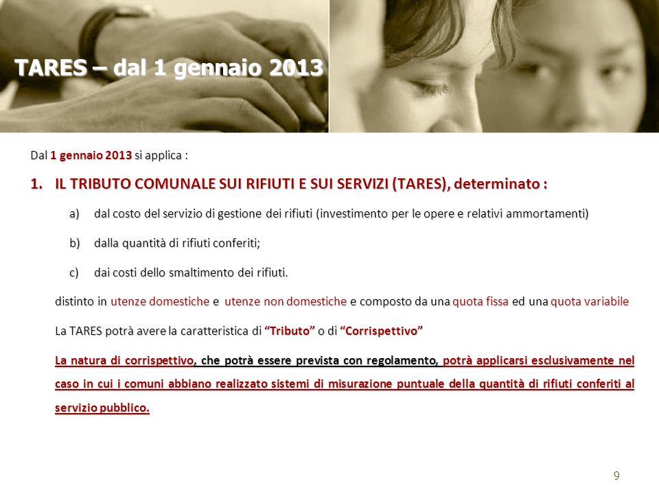 TARES – dal 1 gennaio 2013 Dal 1 gennaio 2013 si applica : IL TRIBUTO COMUNALE SUI RIFIUTI E SUI SERVIZI (TARES), determinato :