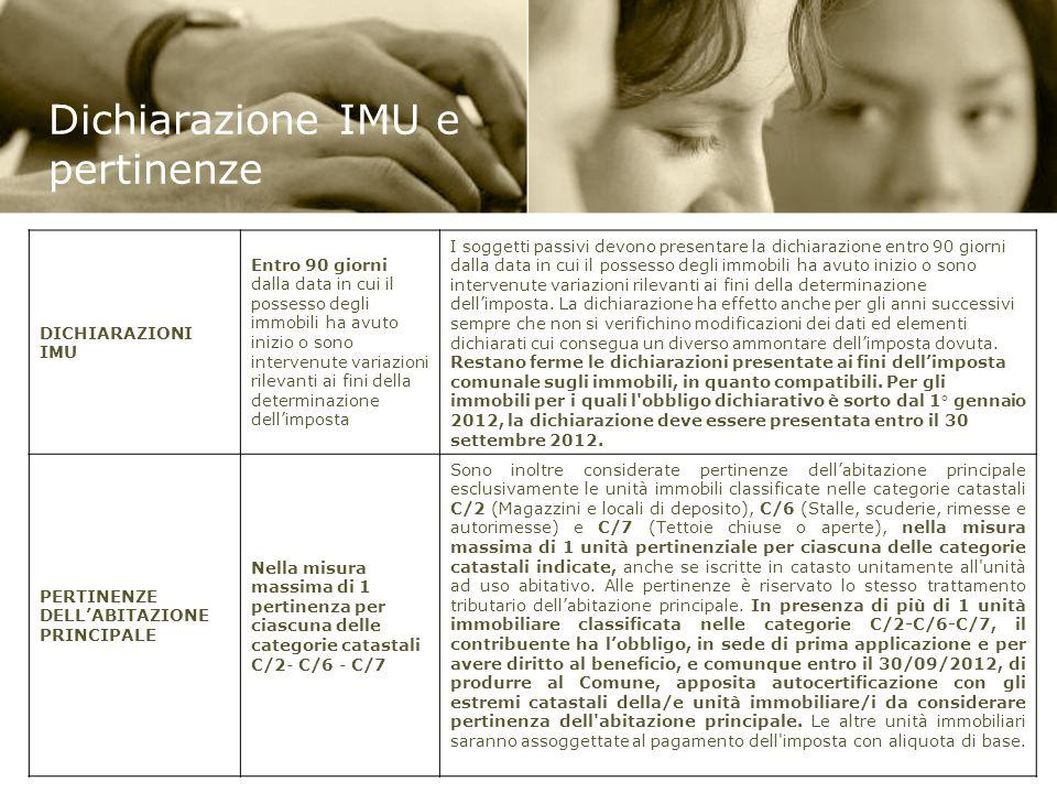 Dichiarazione IMU e pertinenze