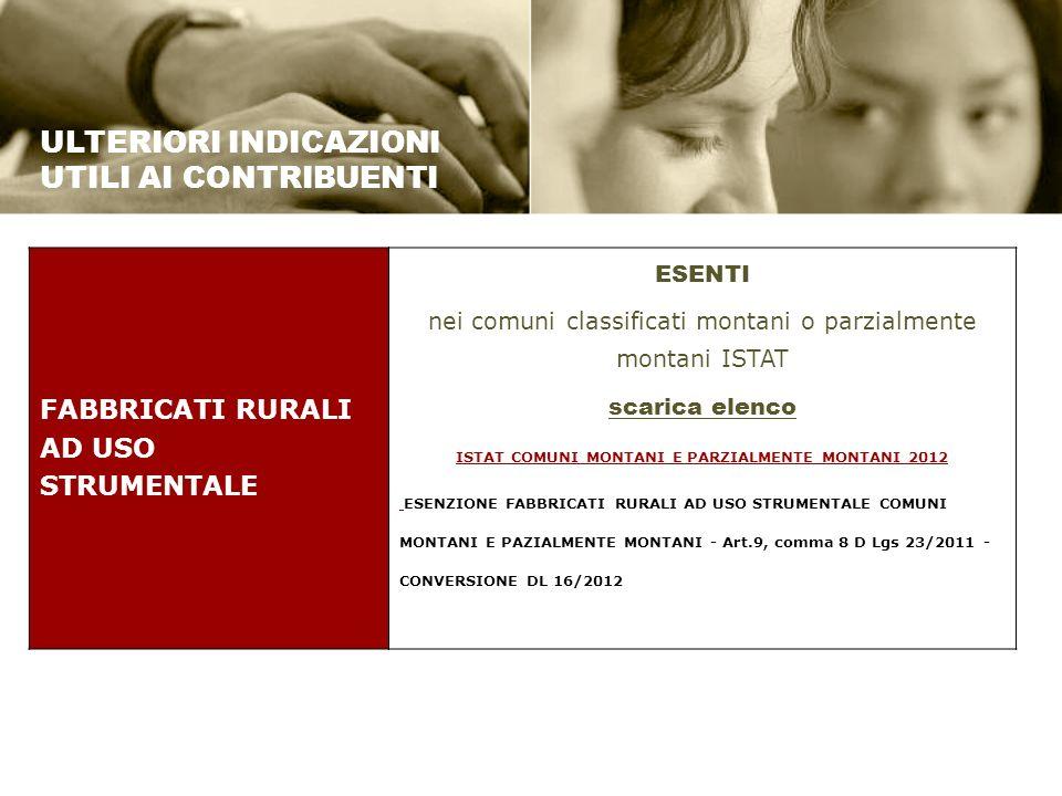 ISTAT COMUNI MONTANI E PARZIALMENTE MONTANI 2012