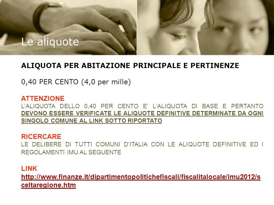 Le aliquote ALIQUOTA PER ABITAZIONE PRINCIPALE E PERTINENZE