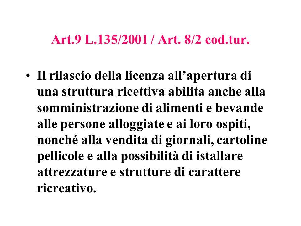 Art.9 L.135/2001 / Art. 8/2 cod.tur.