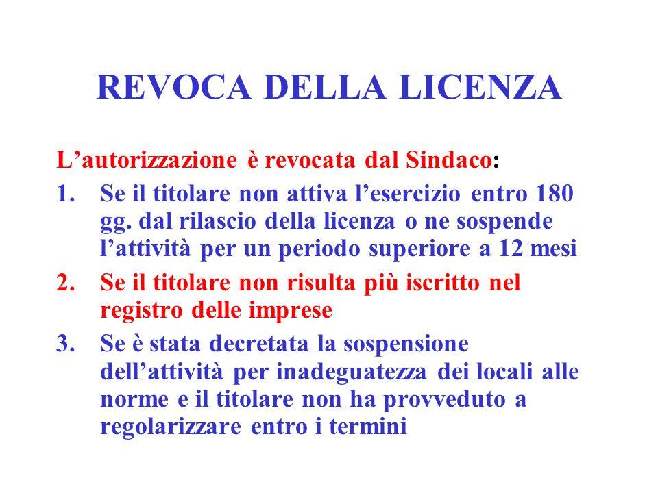 REVOCA DELLA LICENZA L'autorizzazione è revocata dal Sindaco: