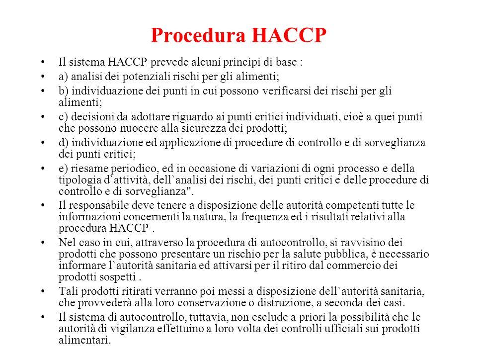 Procedura HACCP Il sistema HACCP prevede alcuni principi di base :
