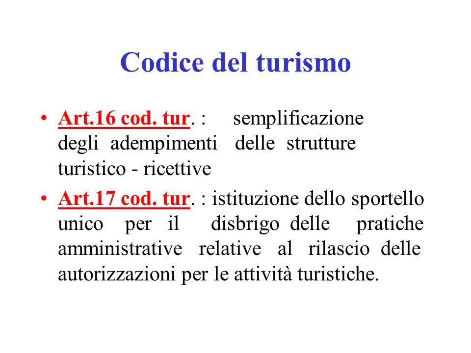 Codice del turismo Art.16 cod. tur. : semplificazione degli adempimenti delle strutture turistico - ricettive.