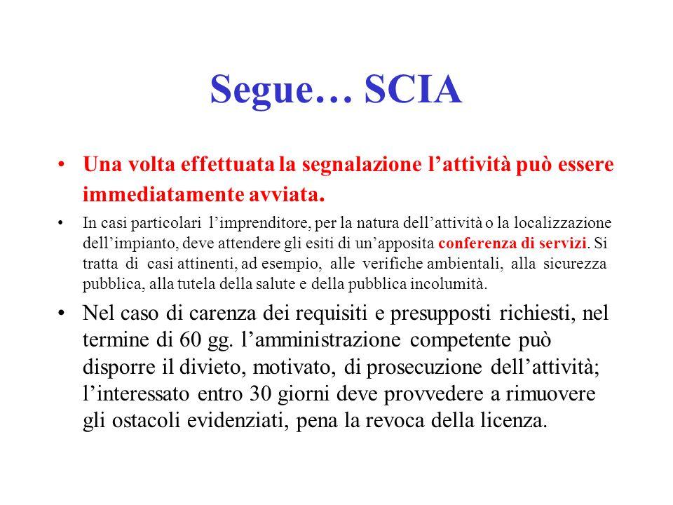 Segue… SCIA Una volta effettuata la segnalazione l'attività può essere immediatamente avviata.