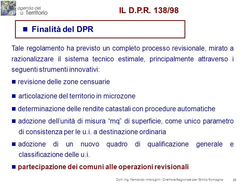 Regolamento per la revisione generale delle zone censuarie, delle tariffe d'estimo delle unità immobiliari urbane. (DPR 138/98)