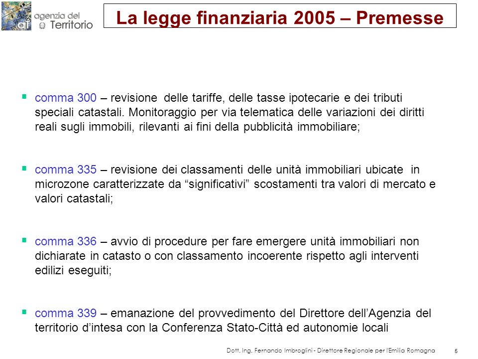 Indirizzi e linee guida per l'attuazione operativa della legge Finanziaria 2005