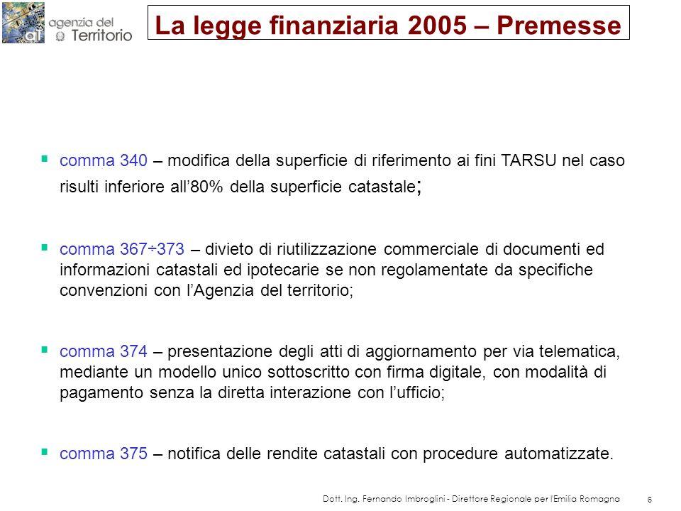 La legge finanziaria 2005 – Premesse