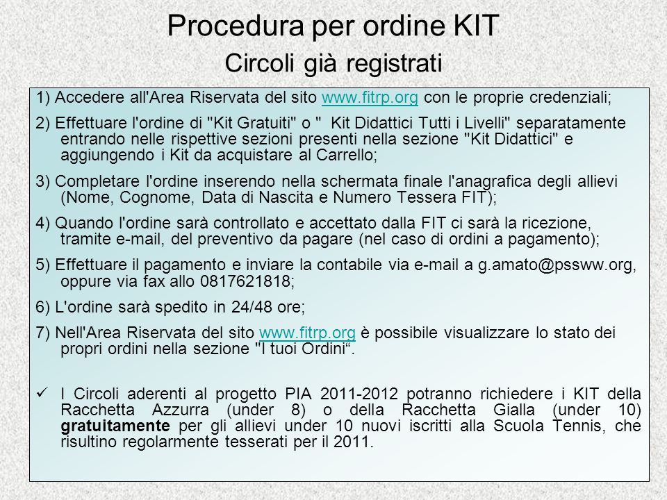 Procedura per ordine KIT Circoli già registrati